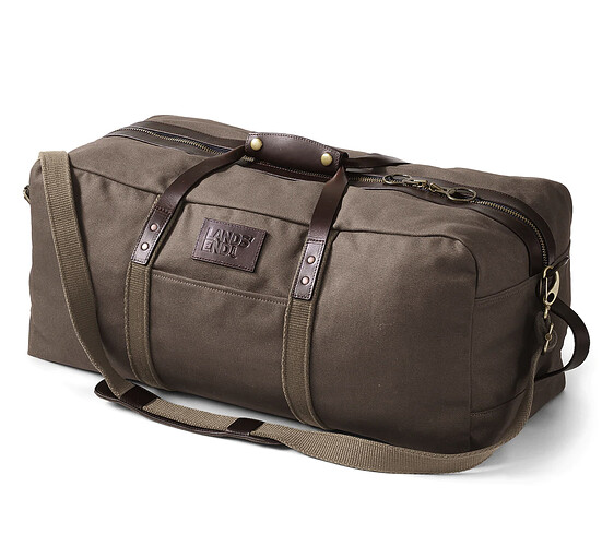 Lands-End-Waxed-Canvas-Duffle-Bag